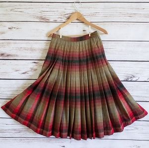 60s Tartan Plaid Accordion Pleat Pendleton Skirt